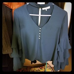 Teal Blue choker collar with ruffled sleeves